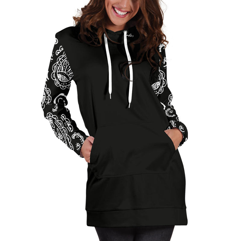 Black Bandana Hoodie Dress