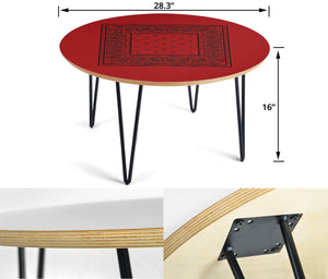 Red and Black Round End Table Sizes
