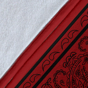 Red with Black Bandana Fleece Throw Blanket Detail