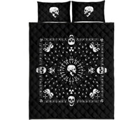 Black Hazardous Skulls Bandana Quilt Set