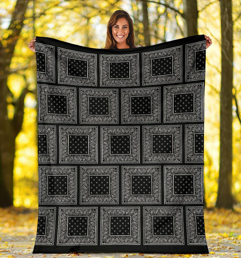 Black Bandana Patch Throw Blanket small