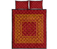 Red and Gold Bandana Bed Quilts with Shams