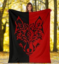 Wolf Tribal Tattoo Fleece Throw Blanket
