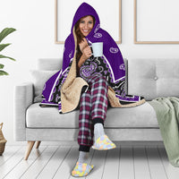 Purple and Black Hooded Sherpa Blanket