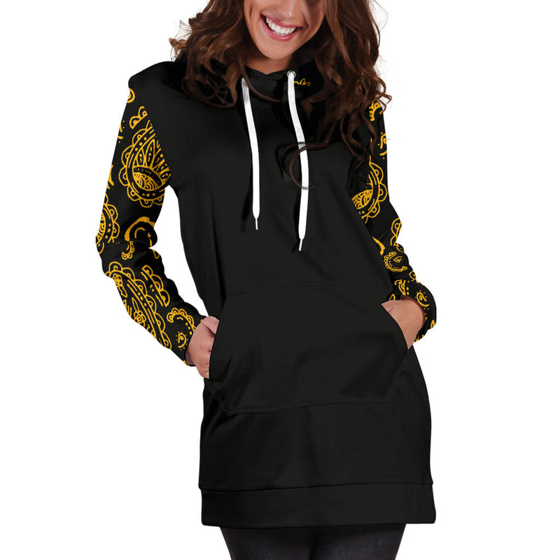 Black Gold Bandana Print Hoodie Dress