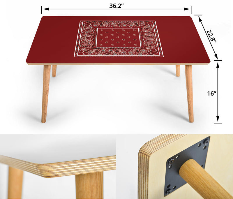 Maroon Red Coffee Table Assembly
