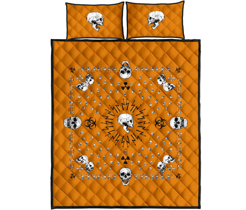 Orange Hazardous Skulls Bandana Quilt Set
