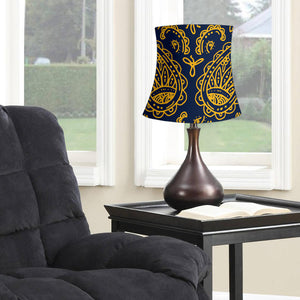 Navy and Gold Paisley Drum Lampshade