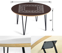 Brown Bandana Round End Table Assembly