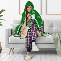 Green and Black Hooded Fleece Blanket