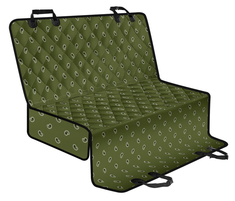 green paisley dog car seat cover