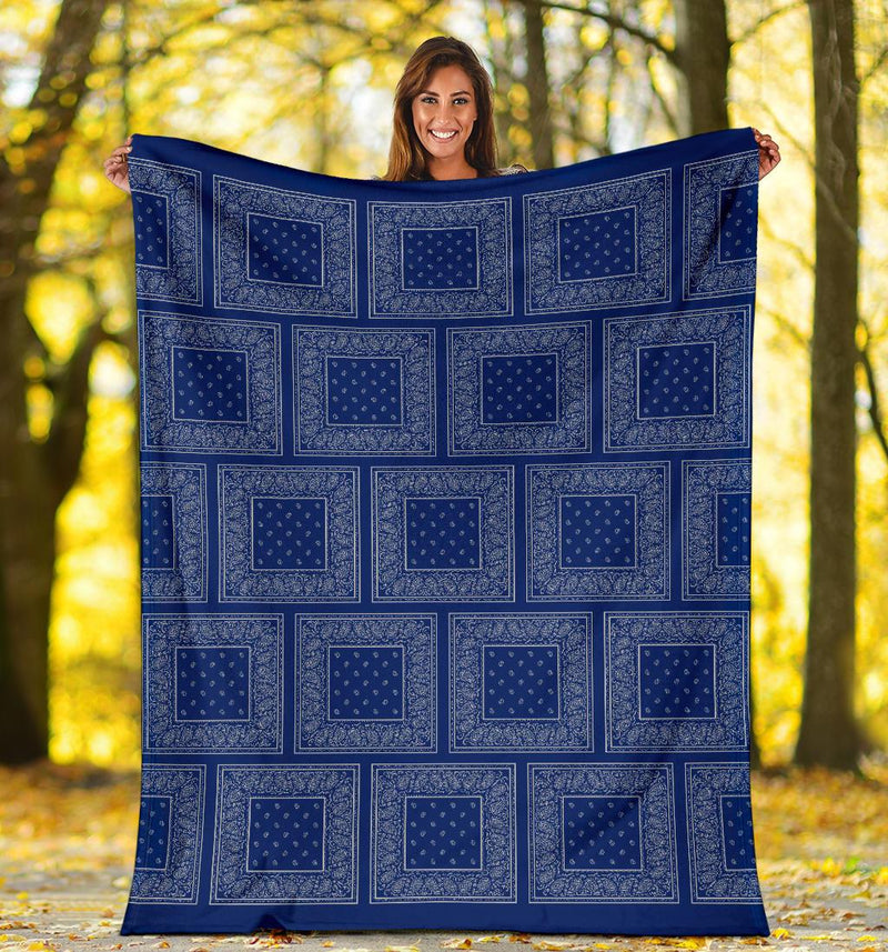 Blue Gray Bandana Blanket