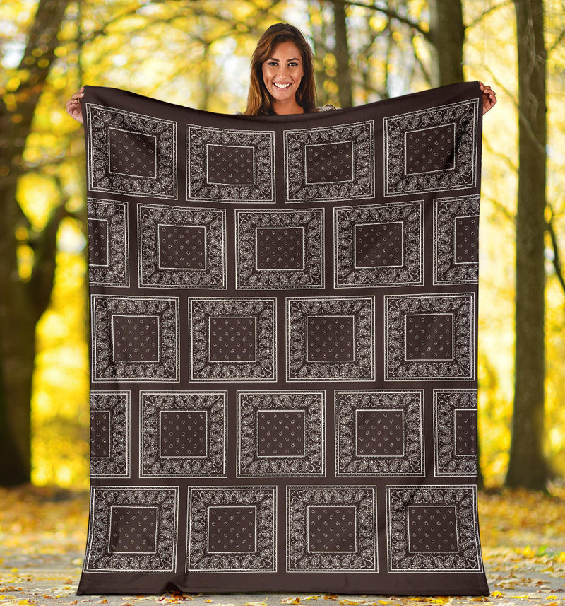 Brown Bandana Patch Throw Blanket