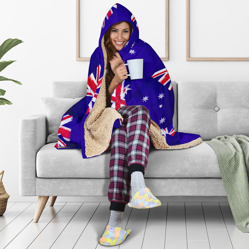Australian Flag Tiled Hooded Blanket