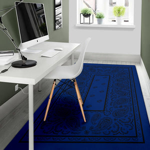 blue throw rug with black paisley