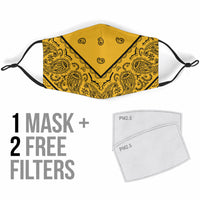 Adjustable Gold and Black Bandana Face Mask with 5 Layer Filters
