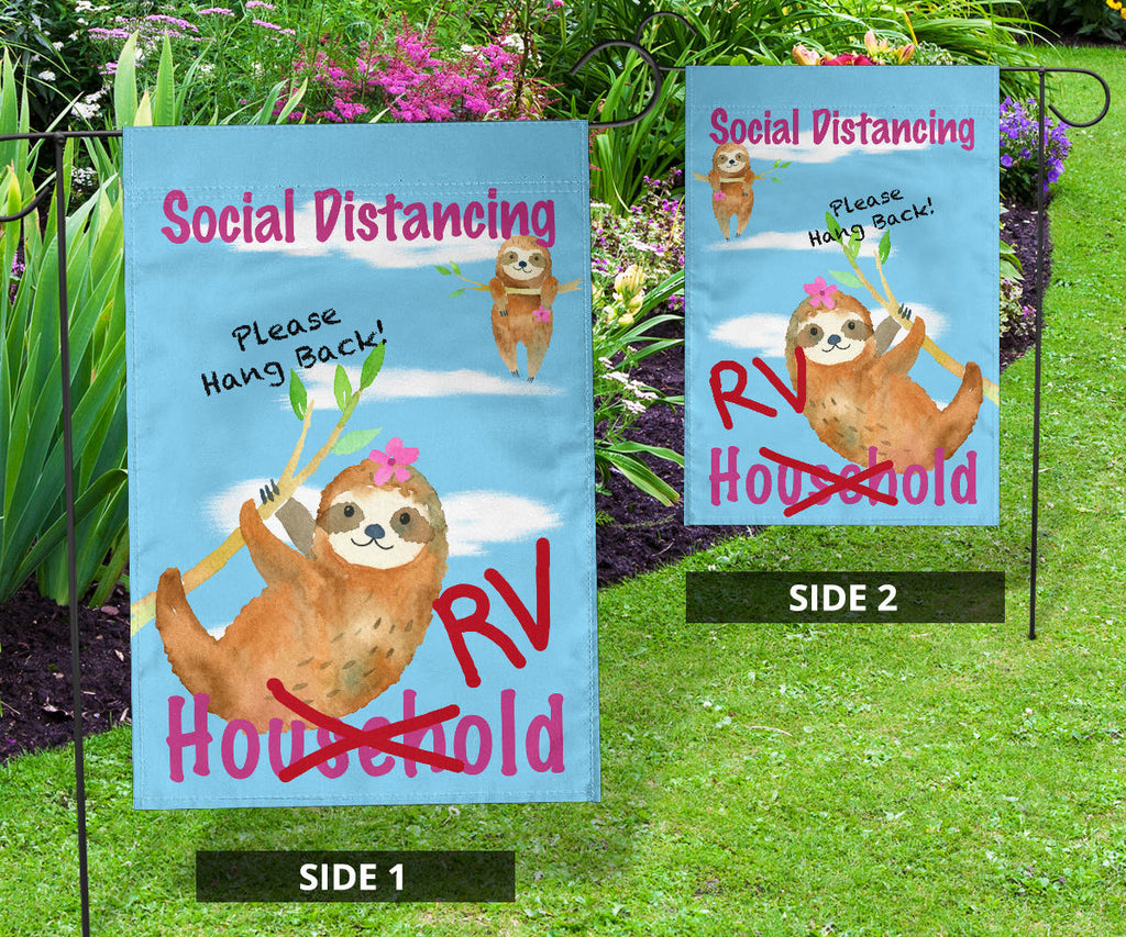 Social Distancing Sloth Flag Signs for RVers