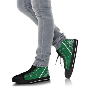 Classic Green Bandana High Top Sneakers - No Box
