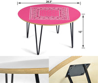 Warm Pink Bandana Round Coffee Table