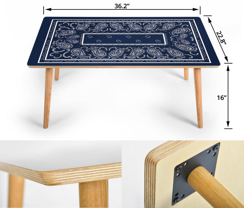 Navy Blue Bandana Rectangular Coffee Table - Fancy