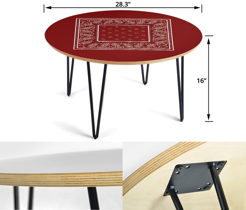 Maroon Bandana End Table Assembly