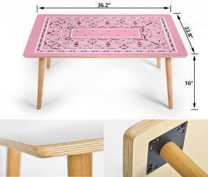 Light Pink Bandana Rectangular Coffee Table Sizes