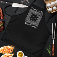 Black Real Cooks Wear Paisley Apron