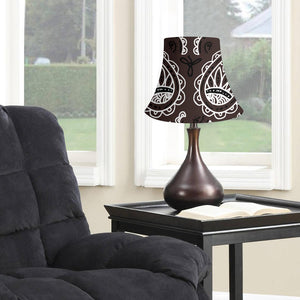 Coffee Brown Paisley Bell Lampshade