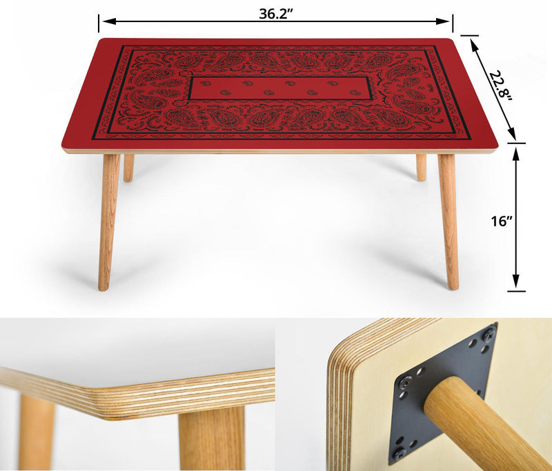 Red and Black Bandana Coffee Table Assembly
