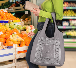 Classic Gray Bandana Grocery Bag 3-Pack