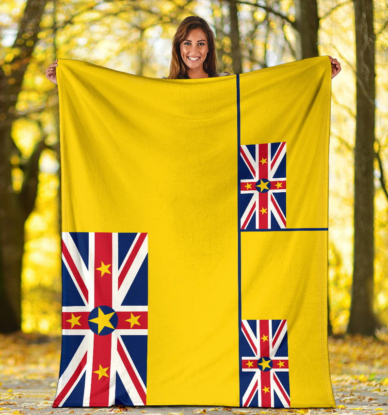 Niue Flag Fleece Throws