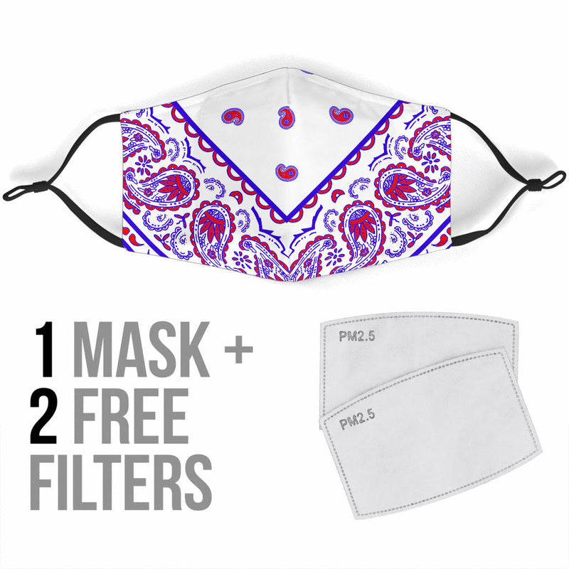 Adjustable Red White and Blue Bandana Face Mask with 5 Layer Filters
