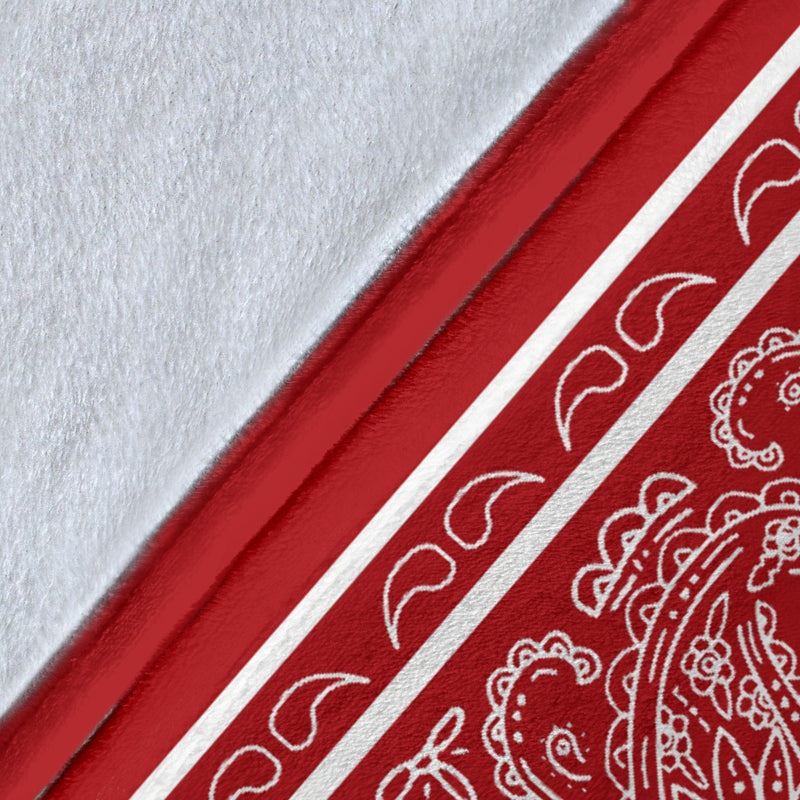 Red with White Fleece Throw Blanket Edge Details