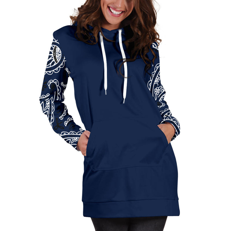 Navy Blue Bandana Print Hoodie Dress