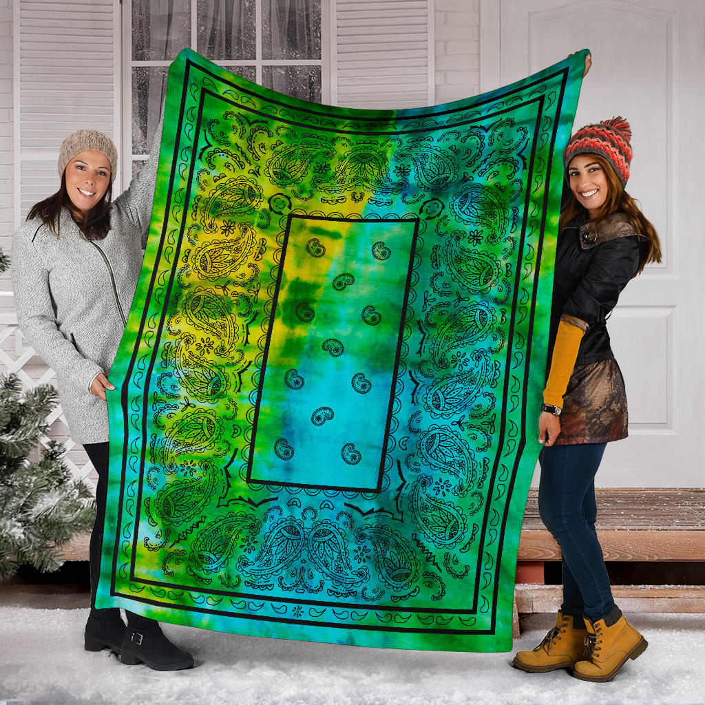 Blue Green Tie Dye Bandana Fleece Throws