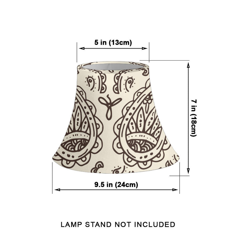 Cream and Brown Paisley Bell Lampshade Size