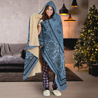 Christmas Faded Blue Bandana Hooded Blanket