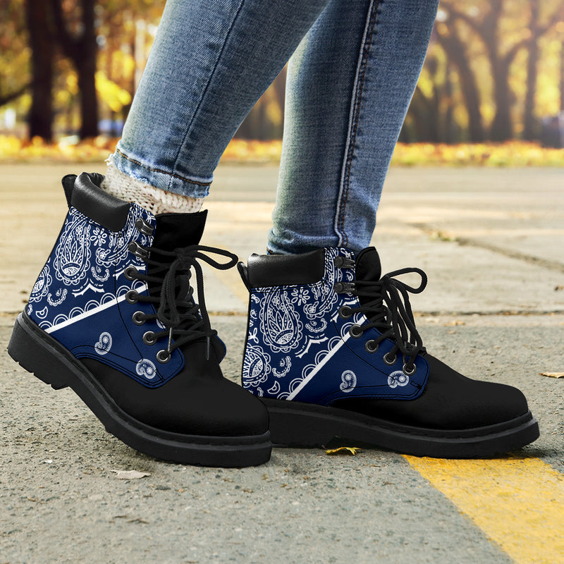 Navy Blue Bandana Blackout All Season Boots