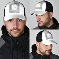 white bandana print men's ball cap