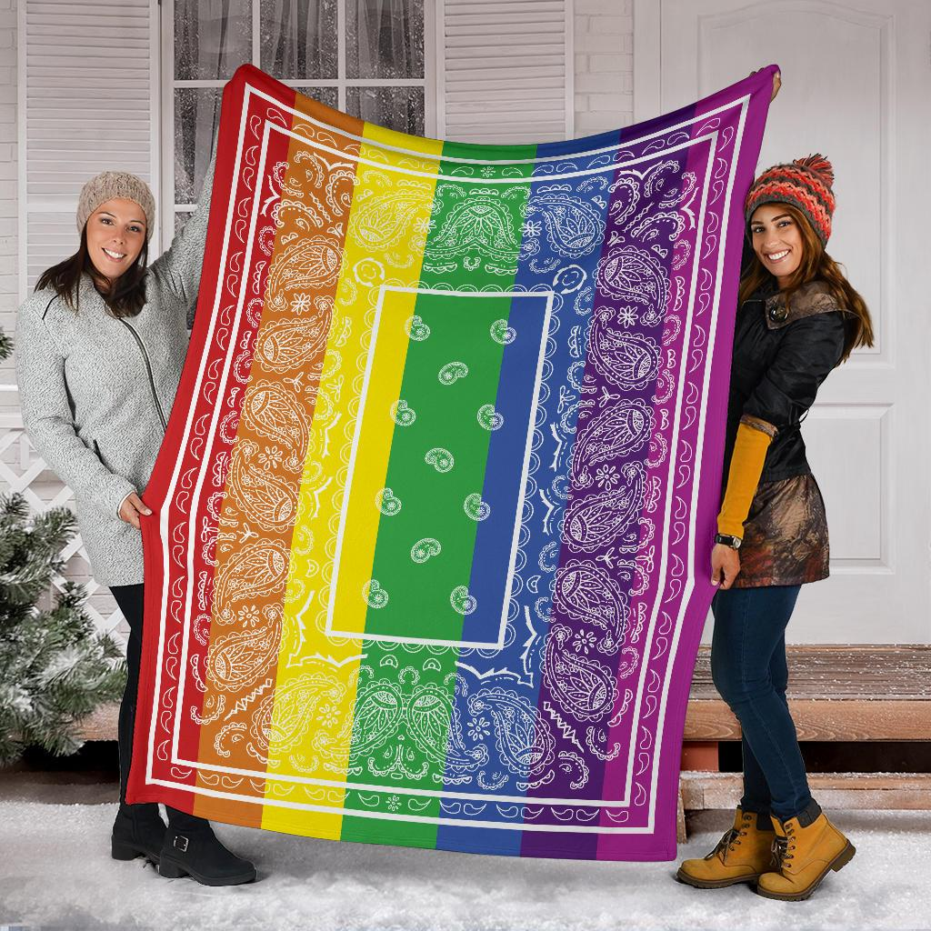 Rainbow with White Bandana Fleece Throw