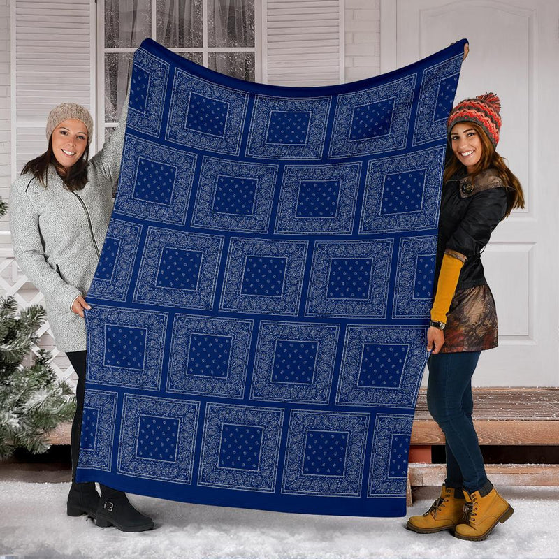 Blue and Gray Bandana Patch Throw Blanket
