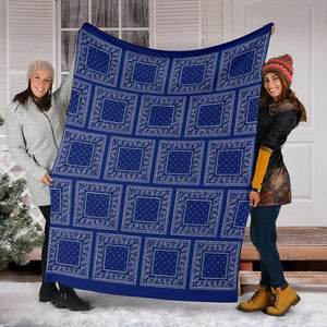Royal Blue Bandana Fleece Throw Blankets