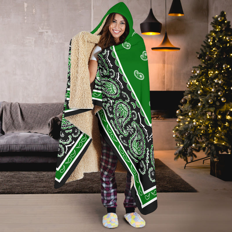 Green and Black Hooded Blankets
