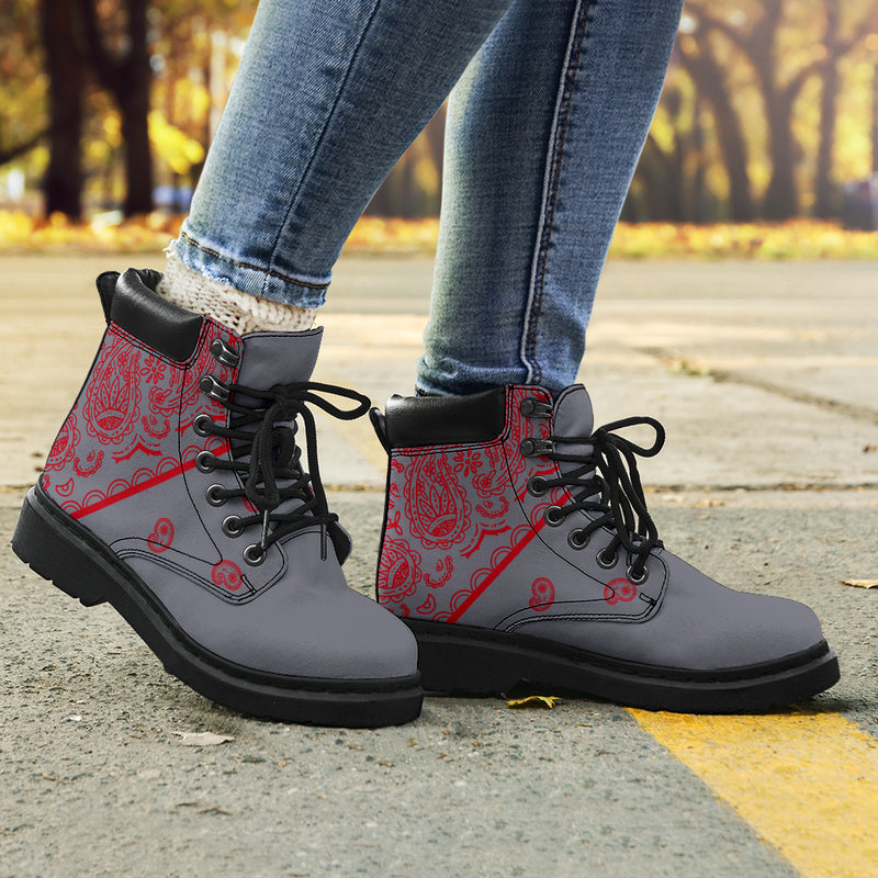 gray and red bandana boots