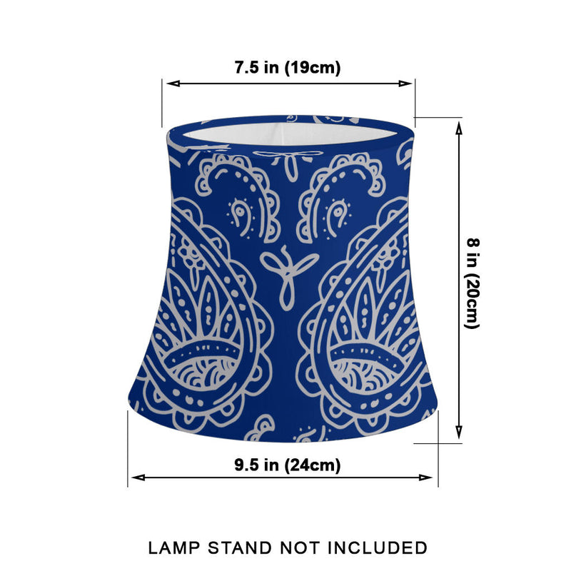 Blue and Gray Paisley Drum Lampshade Size