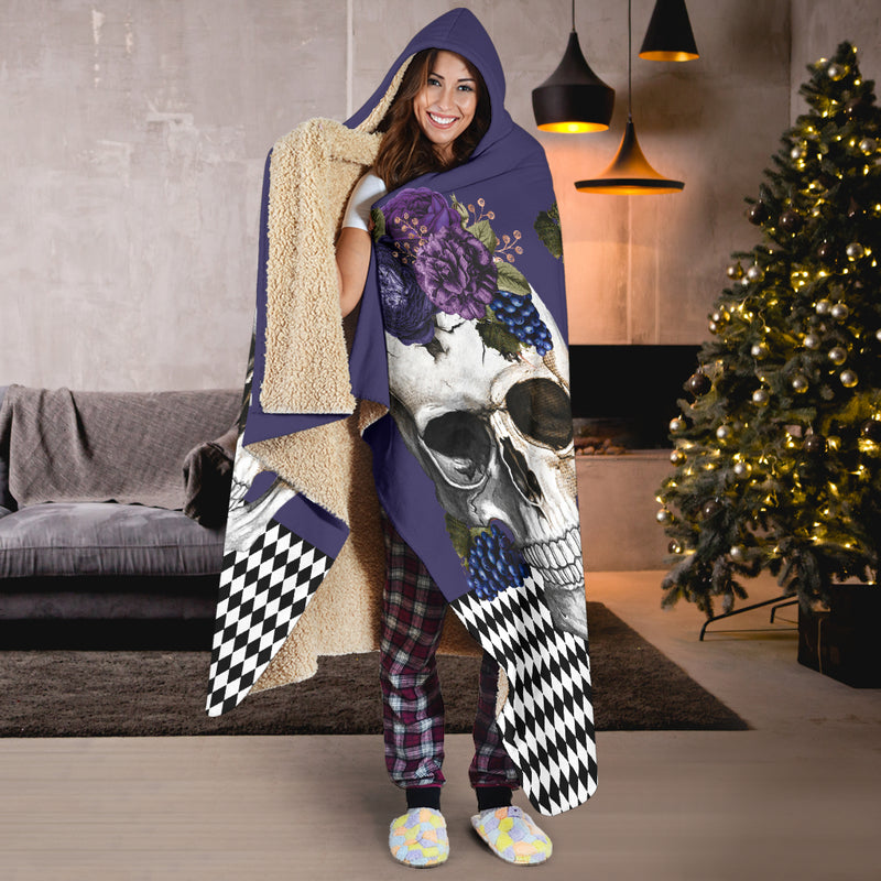 purple skulls and flowers hooded blankets