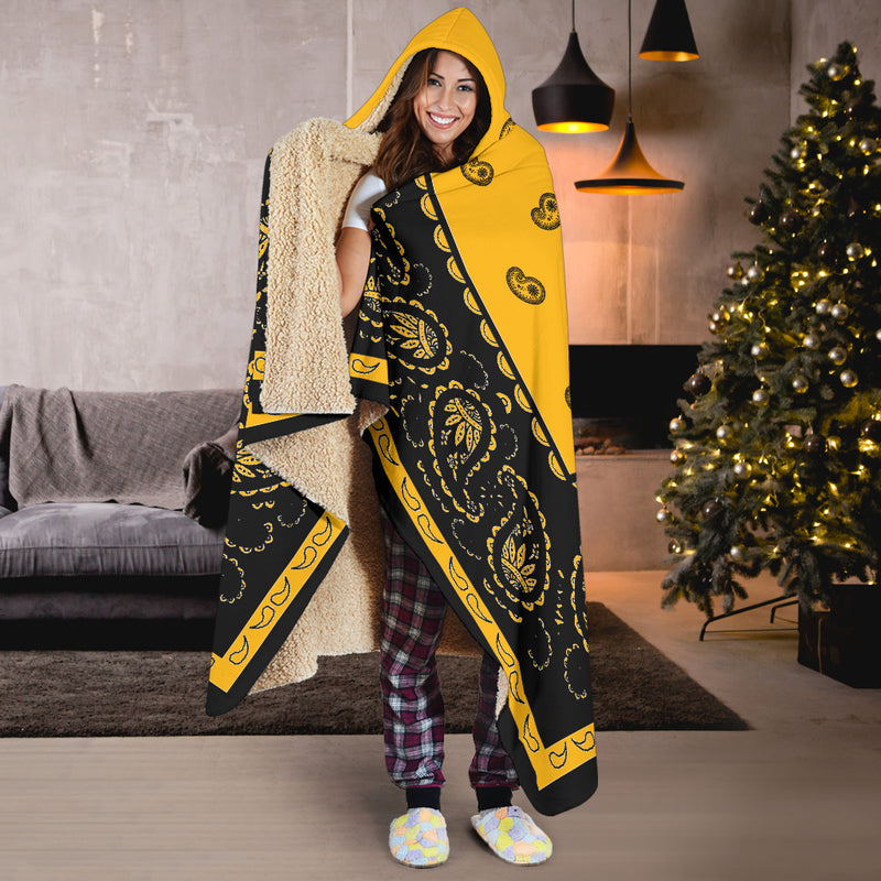 Sports Gold with Black Bandana Hooded Blanket