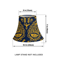 Navy and Gold Paisley Bell Lampshade Measurements