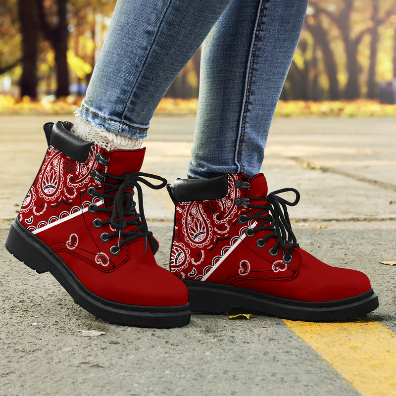 Maroon Red Bandana All Season Boots