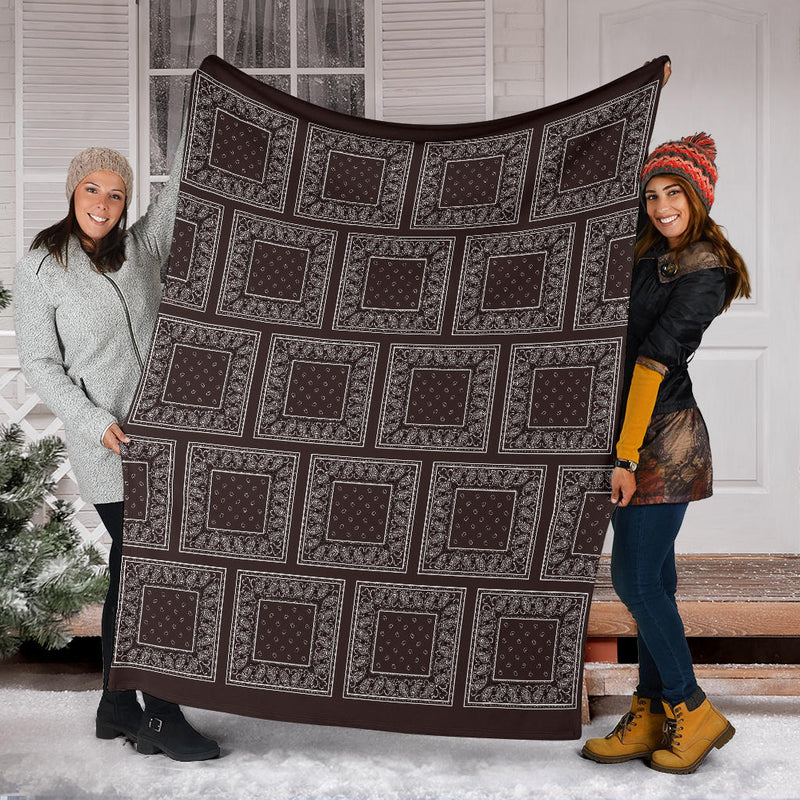 Brown Bandana Throw Blanket